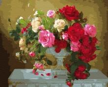 Картина по номерам Розы в белом кубке 40х50 см.