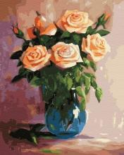 Картина по номерам Персиковые розы в вазе 40х50 см.